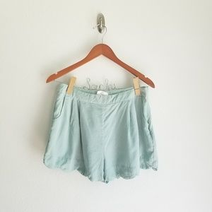 Lush Light Blue Scalloped Shorts